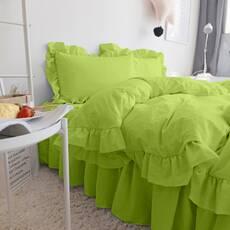 Комплект постельного белья Салатовый Премиум с Рюшей