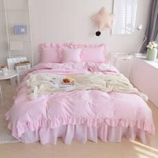Комплект постельного белья Розовый Премиум с Рюшей