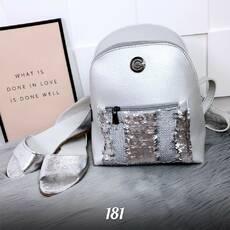Серебристый рюкзак с пайетками 181 (ЯМ)