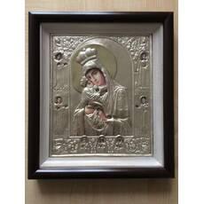 Икона Почаевская БМ 28.5х32.5см серебро_154