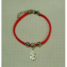 """Червона нитка - браслет з талісманом """"Долар"""""""