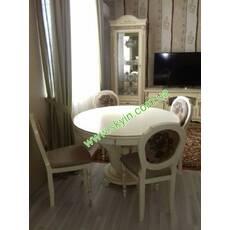 Стол в гостинную «Эдельвейс» со стульями из массива дерева