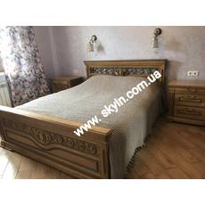 Дубове ліжко  Едельвейс з тумбами