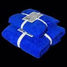 """Подарунковий набір з двох махрових рушників (банячи і особу) """"Синій"""""""