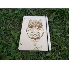 """Дерев'яний блокнот """"Сова"""" ручної роботи формат А5"""
