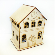 Іграшка Будиночок з годинником і бантиками з дерева