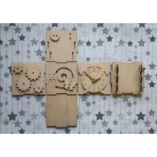 Заготовка Бизикубик 10*10*10см с развивающими элементами из фанеры