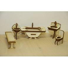 Мебель для кукольного домика. Набор - Ванная комната