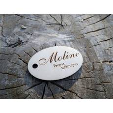 Дерев'яні бирки ярлики з логотипом 6х4см,10 штук