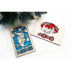 Новогодняя открытка из дерева