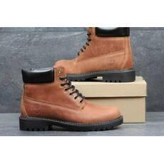 Мужские зимние ботинки Timberland из натуральной кожи коричневые 3639