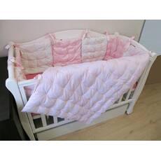 Бортики у ліжечко і ковдрочка. Рожевий + шампань