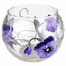 Ваза стеклянная ручной работы Фиолетовые цветы (Шарик средний) ZA - 1170