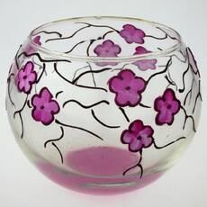 Ваза стеклянная ручной работы Фиолетовые цветы (Шарик маленький) ZA - 1051