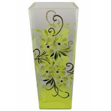 Ваза стеклянная ручной работы Салатовые цветы (Квадратный конус маленький) ZA-1247