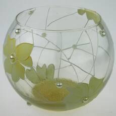 Ваза стеклянная ручной работы Салатовые цветы (Шарик маленький) ZA - 1060