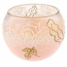 Ваза стеклянная ручной работы Розовые цветы (Шарик большой) ZA-1201