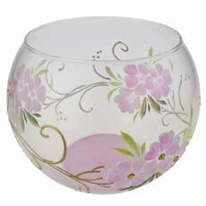 Ваза стеклянная ручной работы Розовые цветы (Шарик средний) ZA - 1166