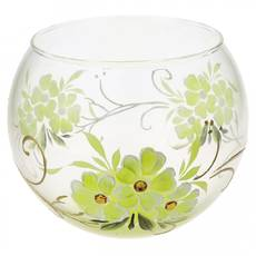 Ваза стеклянная ручной работы Салатовые цветы (Шарик средний) ZA - 1182