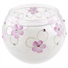 Ваза стеклянная ручной работы Розовые цветы (Шарик средний) ZA - 1172