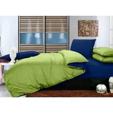 Комплект двосторонньої постільної білизни Салатовий + Синій