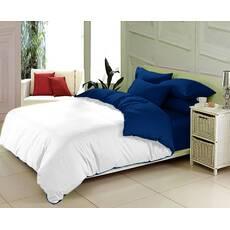 Комплект двустороннего постельного белья Белый + Синий