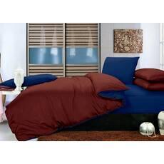 Комплект двосторонньої постільної білизни Коричневий + Синій