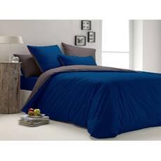 Комплект двустороннего постельного белья Синий +  Порох