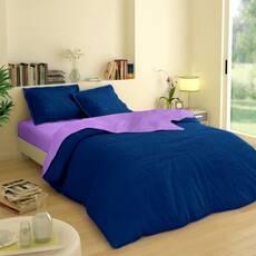 Комплект двустороннего постельного белья Синий +  Сирень