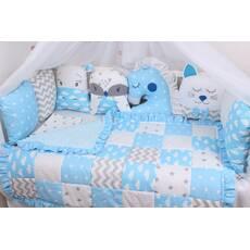Комплект в ліжечко із звірятками у блакитних тонах