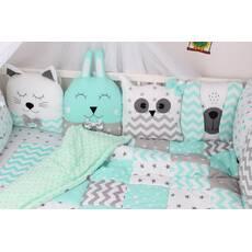 Комплект в ліжечко із звірятками сіро-м'ятних тонах Мирамель