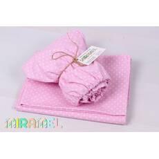 Набір постільної білизни в дитяче ліжечко горох на рожевому