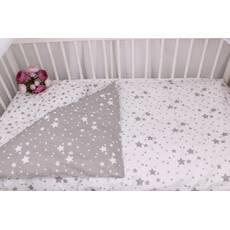 Постельное белье в детскую кроватку серо-белые звезды