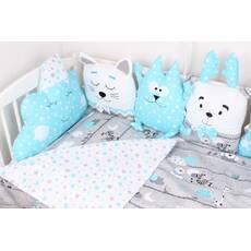 Комплект в ліжечко з подушками іграшками і бортом кіскою