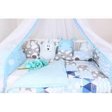 Комплект в кроватку с игрушками в синих тонах
