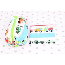 Постельное белье в детскую кроватку машинки с полосками разноцветными