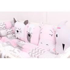 Комплект в ліжечко із звірятками в ніжно рожевих тонах