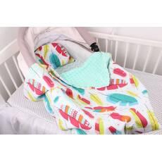 """Комплект в коляску для новорожденного """"Разноцветные перья"""""""