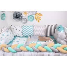 Комплект в кроватку с облачками и  косичкой в серо-голубом цвете