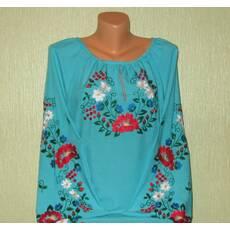 вишита жіноча блуза із голубої тканини
