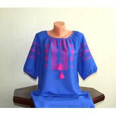 сучасна вишиванка жіноча на синьому льоні