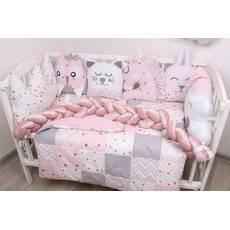 Комплект в ліжечко з іграшками і кіскою в рожевому кольорі кольорі