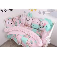 Комплект в ліжечко з іграшками і кіскою в рожево-м'ятному кольорі