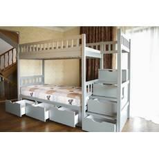 Деревяне двоярусне ліжко Володимир зі сходами у дитячу кімнату