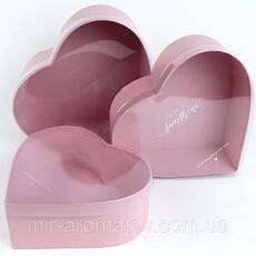 Подарочная коробка  с прозрачной крышкой сердце (комплект 3 шт.)