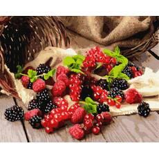 STK Картина по номерам. Ягоды: ежевика, малина, смородина, 40*50 см, Brushme