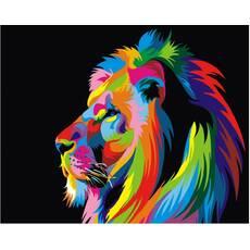 STK Картина по номерам Радужный лев, цветной холст, 40*50 см, без коробки Barvi