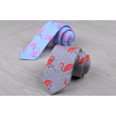 "STK Галстук с принтом серый галстук ""фламинго"""