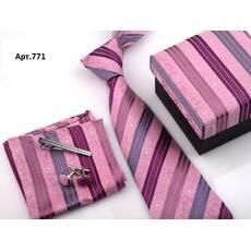 STK Подарочный розовый набор: галстук, запонки, платок, зажим