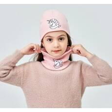 STK Шапочка Одноріг і шалик-пов'язка для дівчинки рожевий
